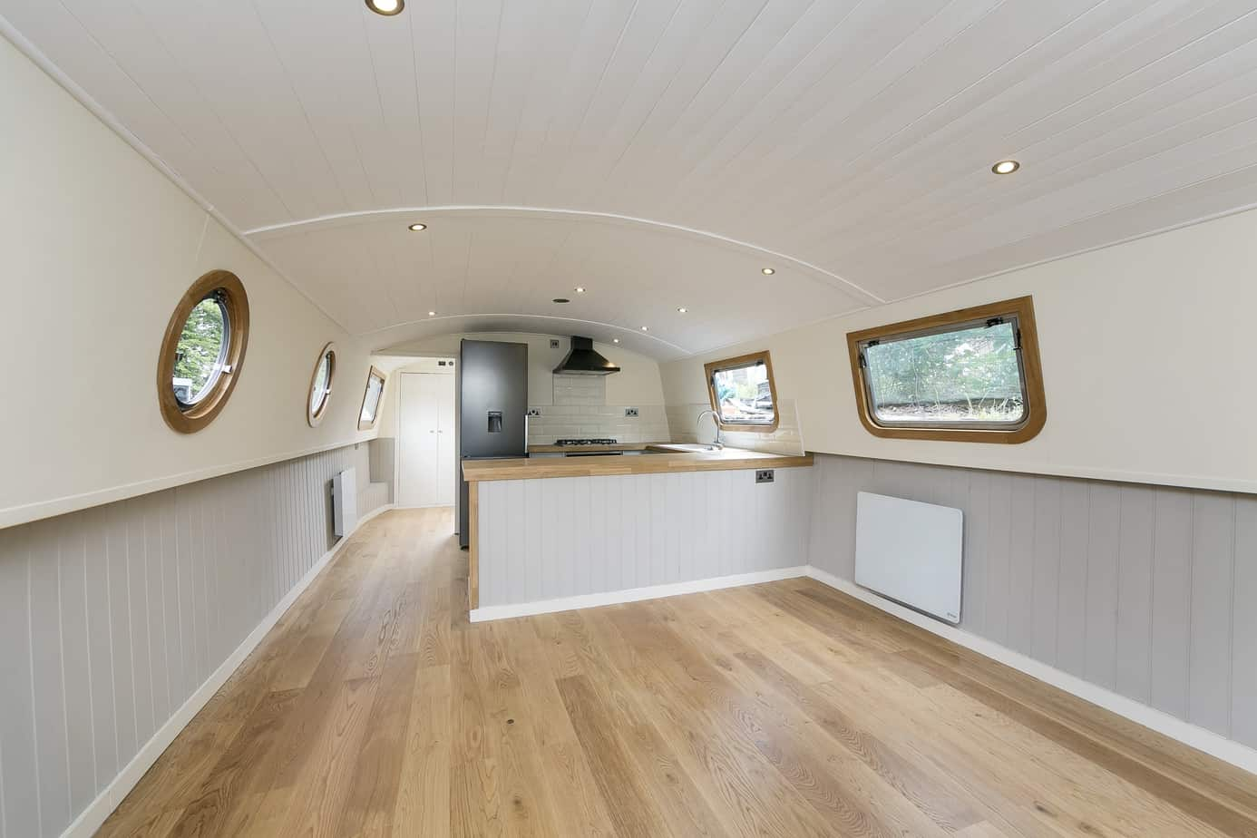 Widebeam-narrowboat-for-sale-Lounge-to-kitchen TW12 2HF