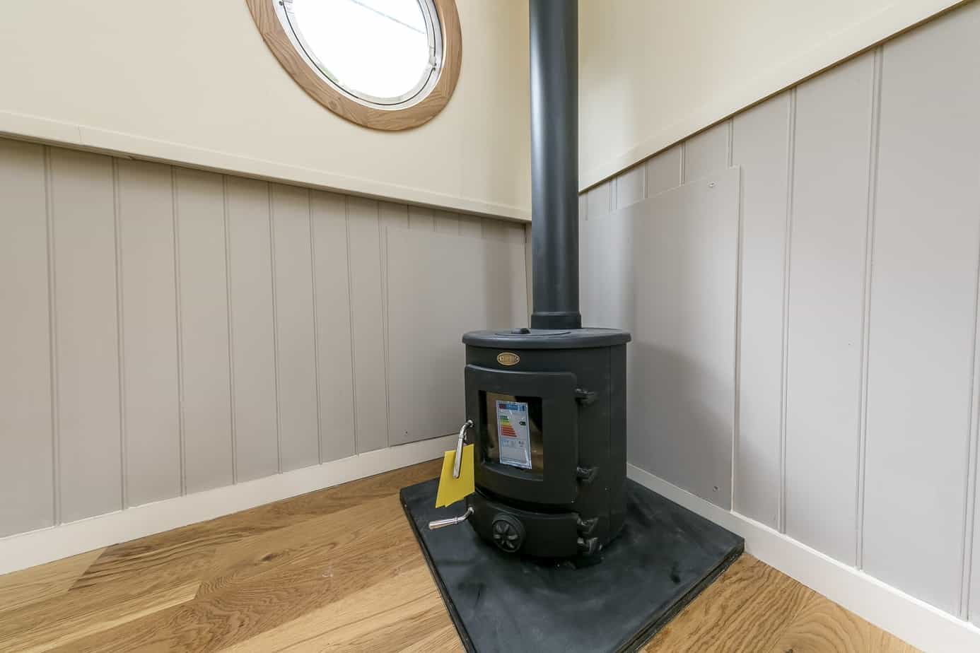 Widebeam-narrowboat-for-sale-wood-burning-stove-Home-Comforts TW12 2HF
